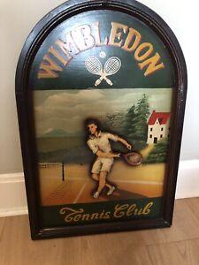 Wimbledon Sign Antique Tennis Picture Wooden