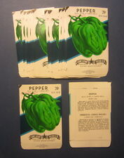 Wholesale Lot of 25 Old Vintage - PEPPER - Green BELL - SEED PACKETS - Empty