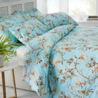Bird Floral Soft 100% Egyptian Cotton Duvet Quilt Cover Bedding Set All Sizes