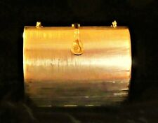 RODO BRUSHED GOLD HARD CASE MINAUDIERE W/DECAUPAGE FINISH/CHAIN