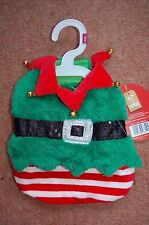 New Elf Jester Xmas Extra Small Dog Coat Hook & loop straps Gold Jingle bells