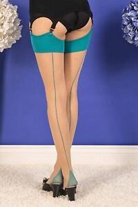 What Katie Did Sheer Glamour Seamed Stockings Champagne Teal H2070