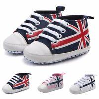 Newborn Infant Baby Union Jack Flag Shoes Canvas Anti-slip Soft Shoes Sneaker A