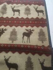 """Vintage Woolrich Soft Throw Blanket Cabin Lodge Deer Moose 50"""" x 68"""" Nice Warm"""