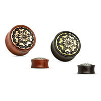Organic Wood Ear Plugs Floral Tribal Inlay Saddle Fit Double Flare