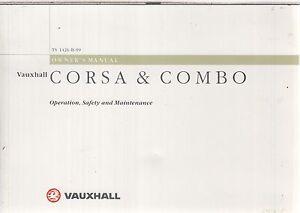 VAUXHALL CORSA B & COMBO VAN ORIGINAL 1999 OWNERS INSTRUCTION HANDBOOK