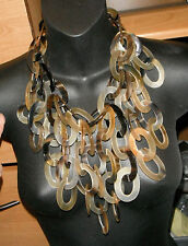 monies necklace tribal ethnic massive bib horn links body cover