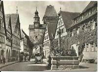 Ansichtskarte Rothenburg ob der Tauber - Rödergasse mit Pferden - schwarz/weiß