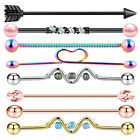 8pcs Stainless Steel Industrial Barbell Ear Piercing Bar Body Piercing Jewelry
