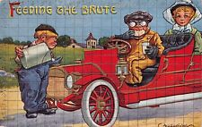FEEDING THE BRUTE~WATER FOR CAR~FOOD FOR DRIVER~BERNARD WALL AUTOMOBILE POSTCARD
