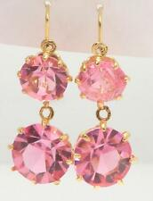 14K YELLOW GOLD SYNTHETIC TWO ROUND PINK SAPPHIRE LEVERBACK PIERCED EARRINGS