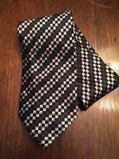 CROFT & BARROW NECK TIE Black Blue Checked Silk Plaid Necktie NWOT