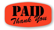 1000 each Paid Thank You Labels Fl Red Black Stickers Best Price On Ebay