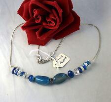 Neckalce Feral Cat Rescue Gorgeous Blue Agate Beaded