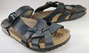 Papillio Birkenstock Pisa Sandals Women's Black Vegan Leather Slip-On Size 6M