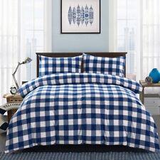 Gingham Plaid Duvet Cover Bedding Set King S Bed Pillowcase 3 Piece Blue & White