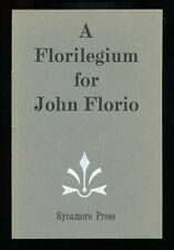 Alan Hollinghurst - A Florilegium for John Florio; SIGNED 1st/1st
