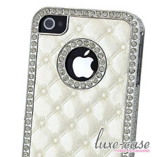 iPhone 4 4S Case Tufted Quilted BLING Leather White Silver Luxury Designer CHIC