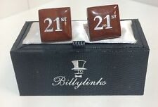 Billylinks Silver Plated 21st Birthday Cufflinks Gift for Him Gents Present
