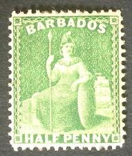 Timbre barbade, n°4, 1/2 penny vert, xx, TB, cote 150e.