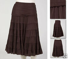 NEW Zaftique TIMELESS TIERED SKIRT Coffee Brown 00 0Z 1Z / 12 14 16 / M L XL 1X
