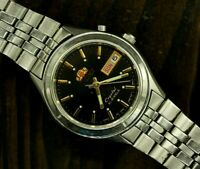 Automatic Japan Watch ORIENT Crystal 21 Jewels Day/Date Black Dial Steel watch