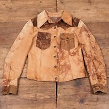Vintage 1970s Leather Suede Jacket Marbled Brown Tan Womens S / Size 8 R2970