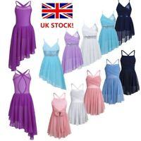 UK Girls Lyrical Contemporary Dance Dress Glittery Gymnastics Leotard Dancewear