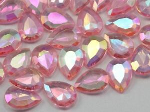18x13mm Pink Teardrop Decorating Gems AB Coating For Table Scatter 50 PCS