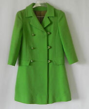 Vtg Wool Woven Coat Spring Green 3/4 Sleeve A-Line Double Breasted Size XS/S