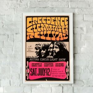 Creedence Clearwater Poster, Creedence Clearwater Concert Print, Vintage Gig
