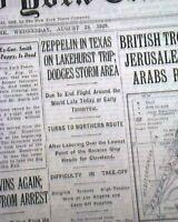 GRAF ZEPPELIN Airship 1st Around World Flight (Ending) Eckener 1929 Newspaper