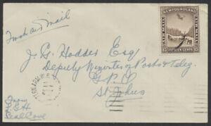 1931 Newfoundland Western Arm to St John's 1st Flight Cover, Feb 18th Backstamp