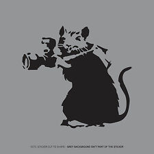 SKU2385 - Banksy Rat Skirting Board Laptop Macbook Sticker - Black 100mm x 106mm
