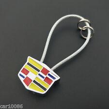 Metal Steel Wire Rope car Key Chain 2 side Logo KeyChain Key ring For Cadillac