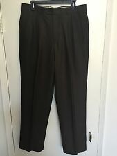 Men's ANGELICO Dark Green Olive Super 120's New Wool Dress Pants Trousers 34