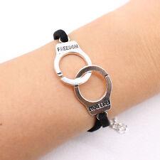 FREEDOM HANDCUFF FRIENDSHIP BRACELET / Gift Idea Black Faux Leather Jewellery