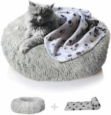 nononfish Anxiety Dog Bed and Grey Dog Calming Blanket Set Comfy Donut Cuddler