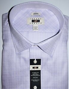 Joseph Abboud Mens Big Tall Dress Shirt 20 - 36/37 TALL Lavender Geo Check NWT