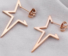 NEW ROSE GOLD SILVER STAINLESS STEEL OPEN HOOP XMAS STAR EARRINGS   UK SELLER