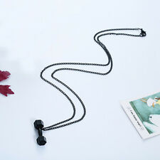 Black Creative Barbell  Women Men Cool Charm Thin Chain Necklace Fashion Jewelry