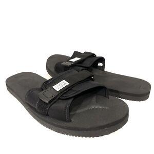 SUICOKE Mens Padri Nylon Rubber Adjustable Slides Sandals Black