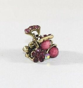 Brand New Super Adorable Purple Red Cherry and Flower Crystals Hair Clip Claw