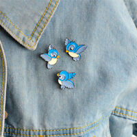 3PCS/Set Enamel Blue Bird Brooch Bin Animal Pin Jacket Shirt Badge Jewelry KQ