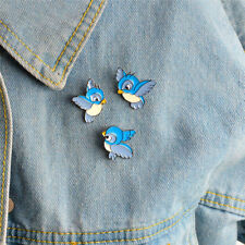 Pin Jacket Shirt Badge Jewelry Gf 3Pcs/Set Enamel Blue Bird Brooch Bin Animal