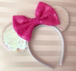 NEW Iridescent White Minnie Mouse Ears Headband Cotton Candy Pink Sequin Bow