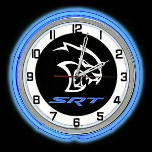 "19"" Dodge SRT Hellcat Sign Blue Double Neon Clock Charger Challenger 707 HP"