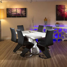 Glass Up to 8 Seats Table & Chair Sets with 6 Pieces