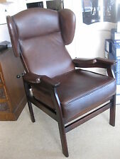 Vintage Retro Hand Dyed Semi Aniline leather Reclining Wing Chair