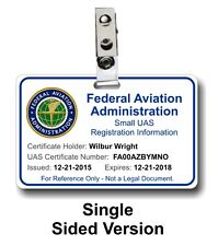 Drone Small UAS FAA Registration Reference ID Card Display Your License Info DJI